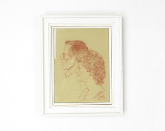 Vintage 1985 Double Profile Portrait Pastel Drawing of Man and Woman