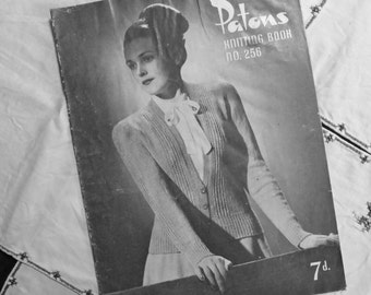 Vintage 1940s Knitting Pattern  Patons No. 256 - ACTUAL PATTERN BOOKLET