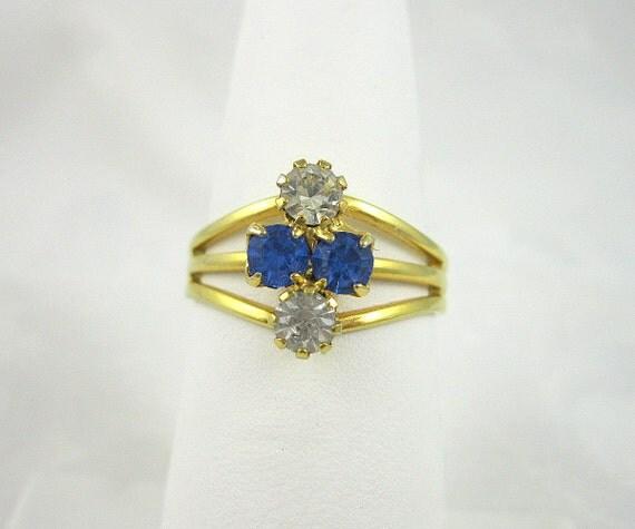 Vintage Rhinestone Ring Sapphire Crystal Adjustable Goldtone