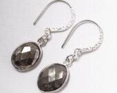Golden Pyrite Earrings Bezel Earrings Drop Earrings Sterling Silver Bezel Gemstone Earrings BZ-E-114-PyriteH-s