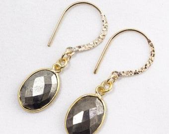 Golden Pyrite Earrings Bezel Set Earrings Drop Earrings 22k Gold Vermeil Bezel Gemstone Earrings BZ-E-114-PyriteH-g