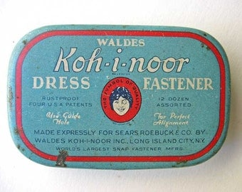 Vintage 1930's Koh-i-noor Dress Fastener Advertising Tin Box, Sewing Collectible, Blue, Red, Advertising Tin