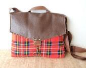 commuter • crossbody messenger bag - fall winter bag • brown leather - red wool plaid - canvas • cross body bag - small messenger