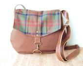 satchel • crossbody bag • brown tweed - vintage wool plaid • fall winter bag - cross body purse