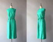 1960s Dress / Vintage 60s Emerald Silk Dress / Frog Pockets Belted Silk Sheath Dress