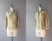 Vintage 1960s Silk Blouse / 1960 B.H. Wragge Pale Beige Blouse / 60s Fitted Silk Blouse