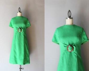 1960s Linen Dress / Vintage 60s Kelly Green Dress / Tortoise Buckle 60s Shift Dress