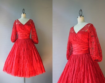 1950s Party Dress / Vintage 50s Claudia Young Dress / 50s Red Lace and Satin Sweetheart Illusion Dress