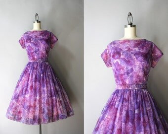 1950s Dress / Vintage 50s Sheer Floral Party Dress / Printed Chiffon 1950s Dress