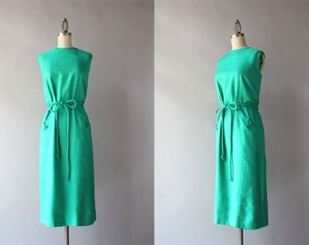 1960s Dress / Vintage 60s Emerald Silk Dress / Frog Pockets Belted Silk Sheath Dress