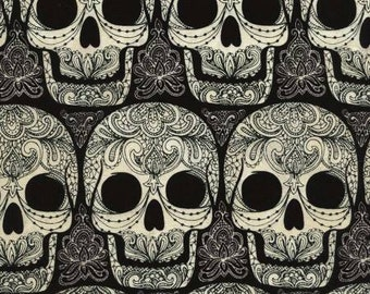 Skulls Ornate Black White Wicked Timeless Treasures Fabric 32 inches LAST IN STOCK