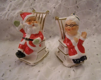 Vintage Santa and Mrs. Claus Salt and Pepper Shakers ~ Christmas Holiday ~ Lefton Japan