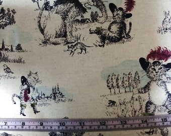 Half Yard Japanese Linen Blend Cotton Fabric Cat Puss with Boots Fairy Tale