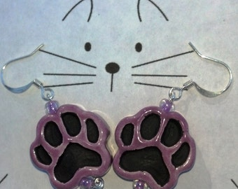 Paw Print Earrings, Paw Print Jewelry, Animal Lover's Jewelry, Paw Print Charms, Animal Paws Jewelry