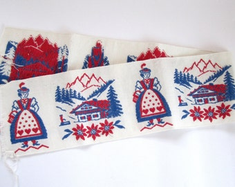 Vintage wide embroidered trim border w Woman, Chalet in the Alps, edelweiss, Switzerland Swiss Austria short remnant