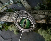 Gothic Steampunk Green Eye Hair Stick Haarstuck