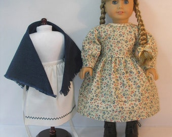 1854-1065, 18 Inch Doll Clothes School Dress Apron Shawl fits Kirsten