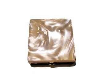 Vintage Mother of Pearl brass metal pill box small box