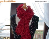On Sale Handknitted Ruffles Scarf in Red