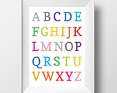 Alphabet Print Rainbow, Digital Wall Art, Printable Art, Nursery Art, Nursery Print, Digital Print