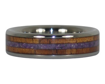 Purple Sugilite and Dark Koa Wood Ring