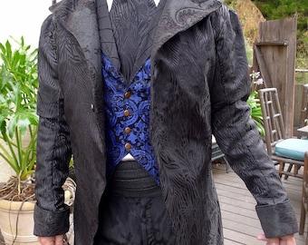 Black on Black Peacock Brocade Tapestry Cloth  Steampunk Frock Cutaway Swallowtail Wedding Jacket