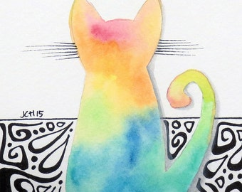 "Tie Dye Cat with Hippie Swirls Watercolor and Ink Painting Drawing  5"" x 7""  Wall Art"