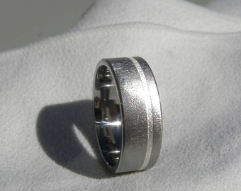 Titanium Offset Silver Inlay Ring Wedding Band Frosted