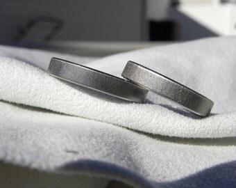 Titanium Ring SET or Wedding Bands,  Frost Finish