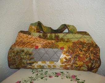 60s Vintage Country Farm Print Fabric Barrel Bag Purse