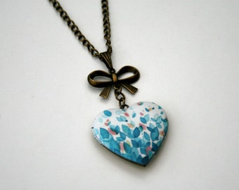 Flower Locket Necklace, Floral Necklace, Heart Locket Necklace