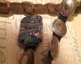 SPECIAL for THE HOLIDAYS! Reduced from 500.00 - Sterling Silver Native American Concho Belt with Boulder Opal Buckle