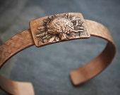 Copper Cuff Bracelet with Black Eyed Susan Wildflower, Botanical Cuff, Plant Bracelet, Prairie Wildflower Cuff Bracelet from Kansas