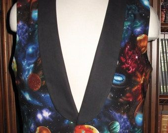 Cosplay Large Planet Galaxy print Tuxedo men's vest