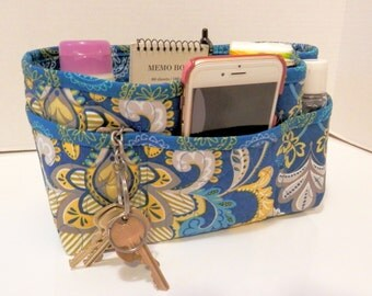 "Purse Organizer Insert/Enclosed Bottom  4"" Depth/ Royal Blue Print"
