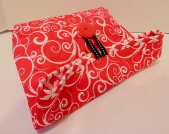 Foldover Bag/Red and White Swirl Print