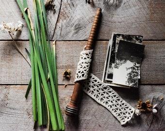 Antique Crochet Lace Trim on Wood Bobbin Vintage Sewing Supplies, Antique Textile, Wood Spindle, Textile Bobbin