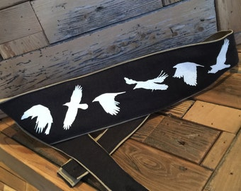 Guitar Strap-Flying Crow Screen Printed Design