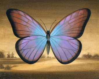 Blue and Violet Butterfly Landscape