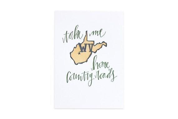 West Virginia Letterpress State Print // 1canoe2// Hand illustrated