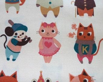 Animal Party- Japanese Cotton Fabric - Half Yard