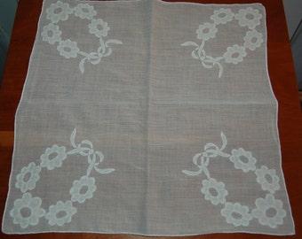 Vintage  Handkerchief White on White Flowers Applique Unused