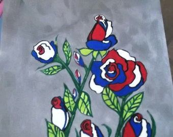 Clearance Sale Unique  Red White and Blue Roses Abstract Acrylic Painting Holiday Home Decor Original Signed and Dated Armed Services