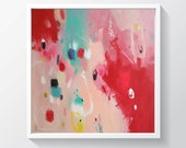 Abstract painting, red painting,original mixed media on stretched canvas, Colorful painting Ready to hang. 23x 23 inches