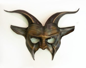 Leather Goat Mask in brown with black very lightweight and easy to wear