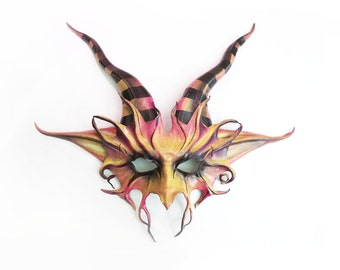 READY TO SHIP Horned Creature Leather Mask with Striped Horns Colorful imp satyr pan goat  seamonster wildman wildwoman crazy faerie