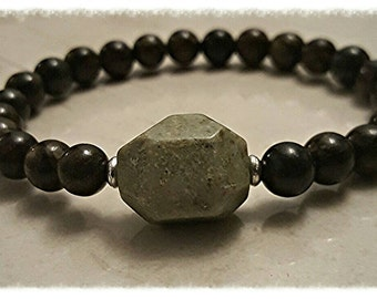 Men's beaded stretch stone bracelet, brown 8mm round jasper stone, stackable,arm candy, mens fashion, mens gift, green stone, silver bead
