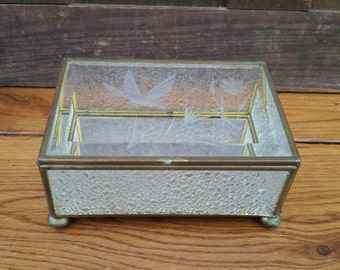 Vintage Brass Vitrine Glass Rectangle Display Case Jewelry Box With Etched Bird