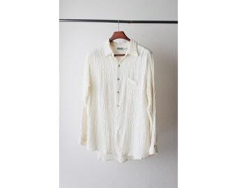 1990's Off White Sheer Silk Wrinkle Oversized Shirt