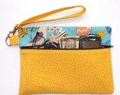 Yellow Zippered Wristlet, Bird Print Clutch, Turquoise Purse, Wrist Wallet, Camera or Makeup Bag, Yellow Birds Gadget Bag, Coin Purse